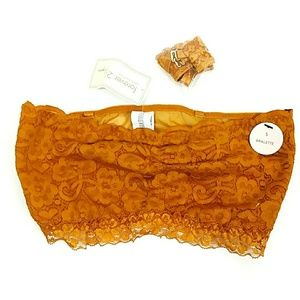 NWT Foreverw21 Gold Lace Strapless Bralette S